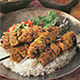 Curried lamb kebabs is elegant and exotic