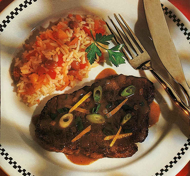 healthy foods steaks with garlic topping